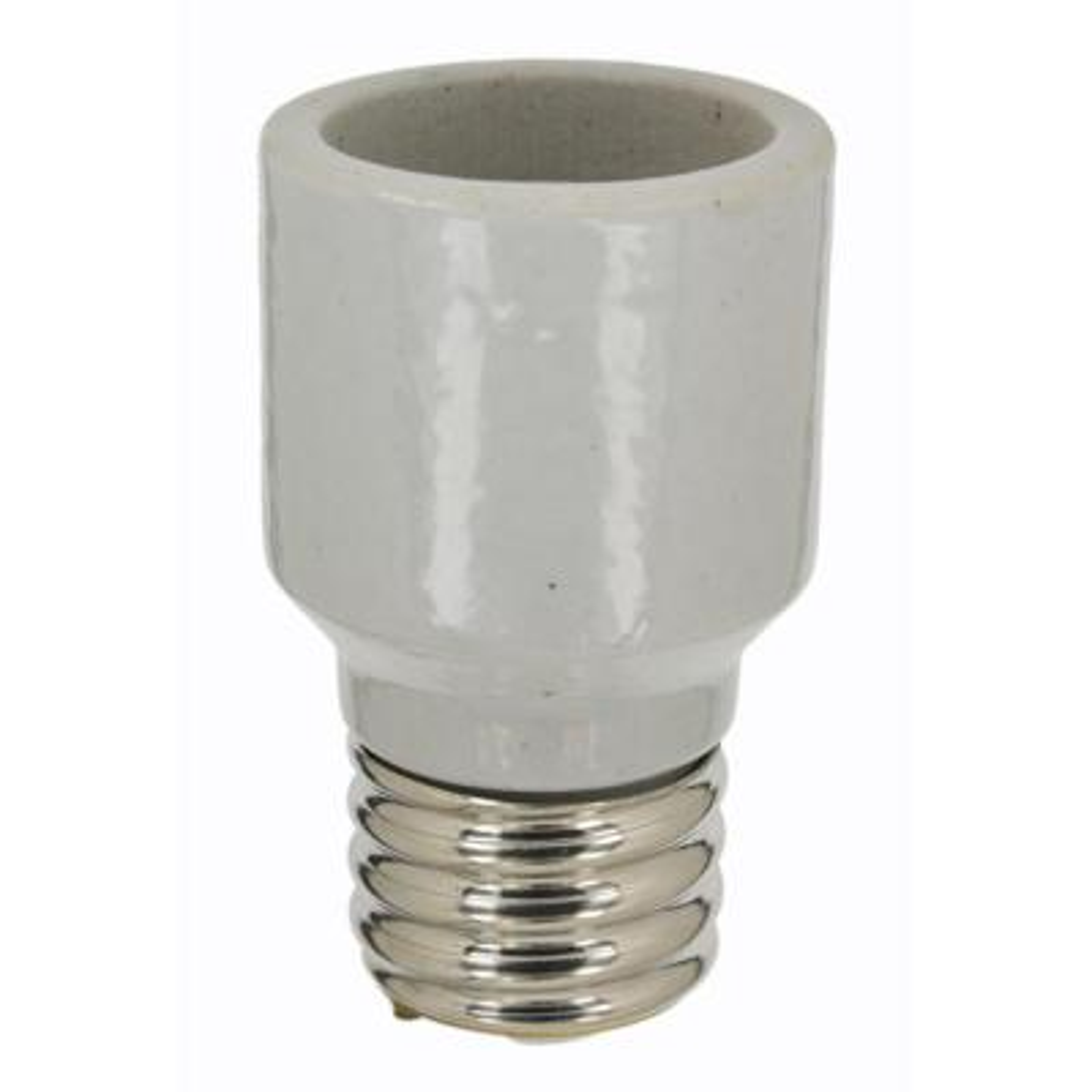 1500W Mogul-Mogul Base One-Piece Glazed Porcelain Adapter/Extender Incandescent Lampholder, White