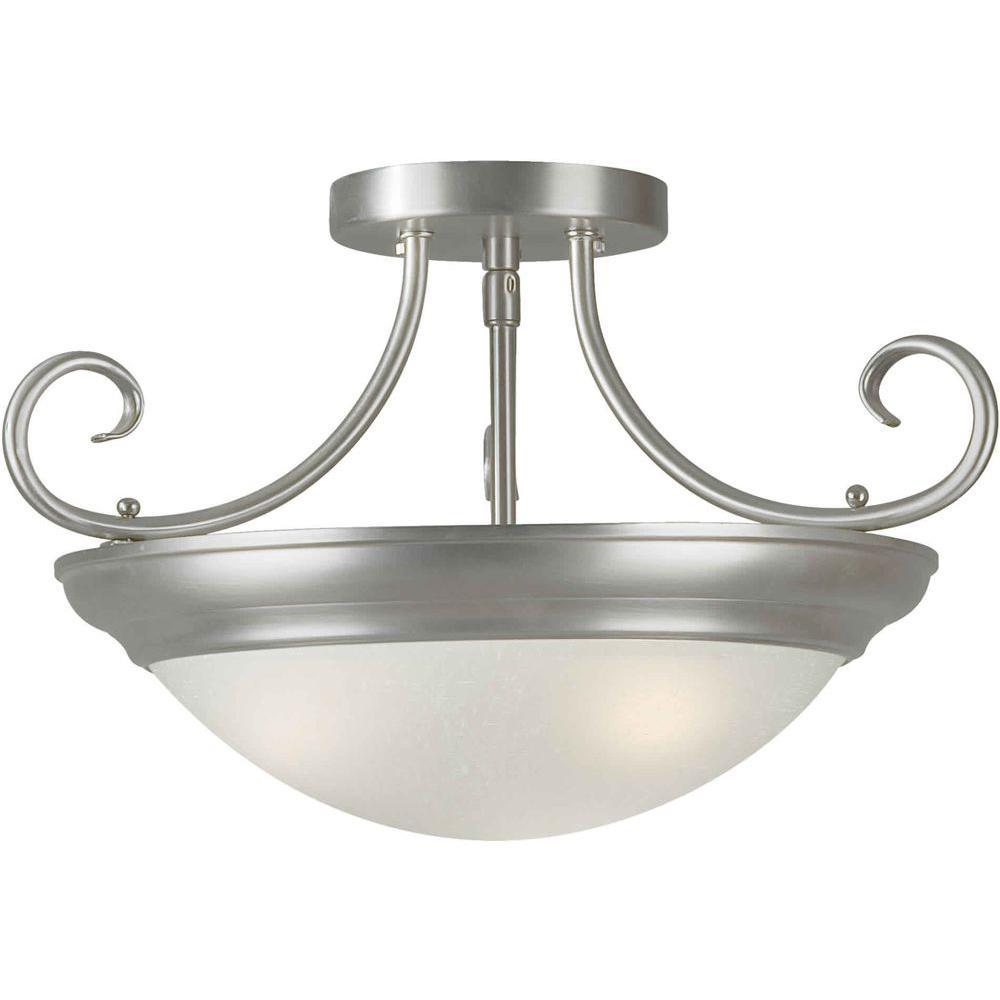 Illumine 3-Light Semi Flush Mount Brushed Nickel Finish White Linen Glass-DISCONTINUED