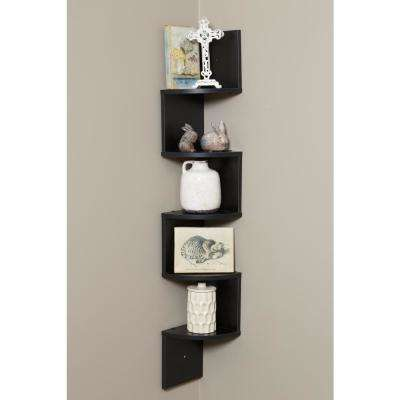 5-Tier Black Large Corner Wall Mount Shelf