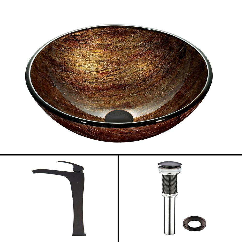Glass Vessel Sink in Amber Sun Set and Blackstonian Faucet Set