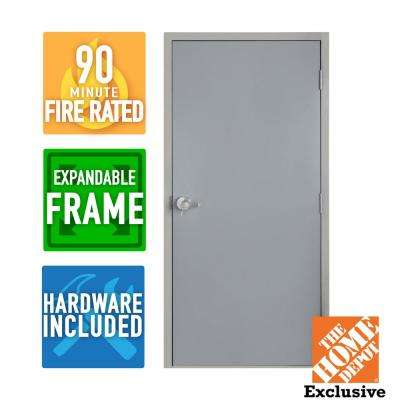 36 in. x 84 in. Fire-Rated Left Hand Unfinished Steel Commercial Door Slab with Adjustable Frame