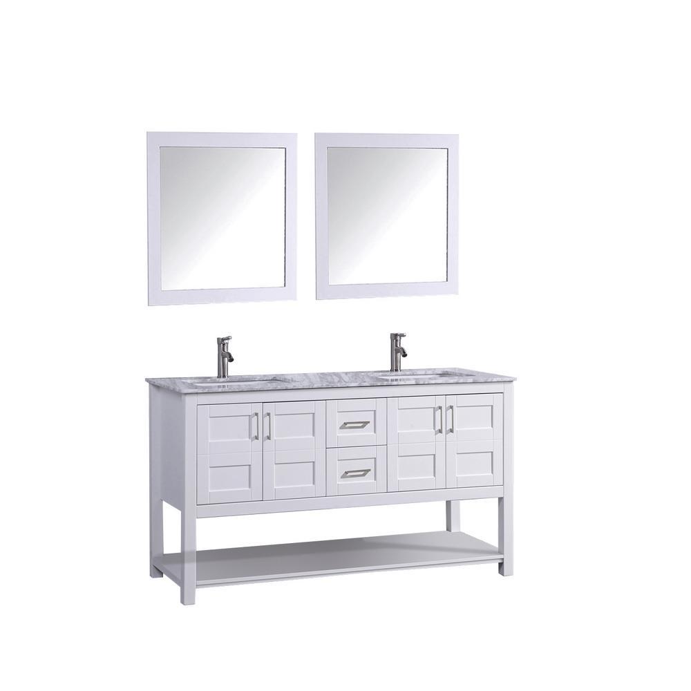 Norway 72 in. H x 22 in. D x 36 in. H Vanity in White with Marble Vanity Top in White with White Basins and Mirrors