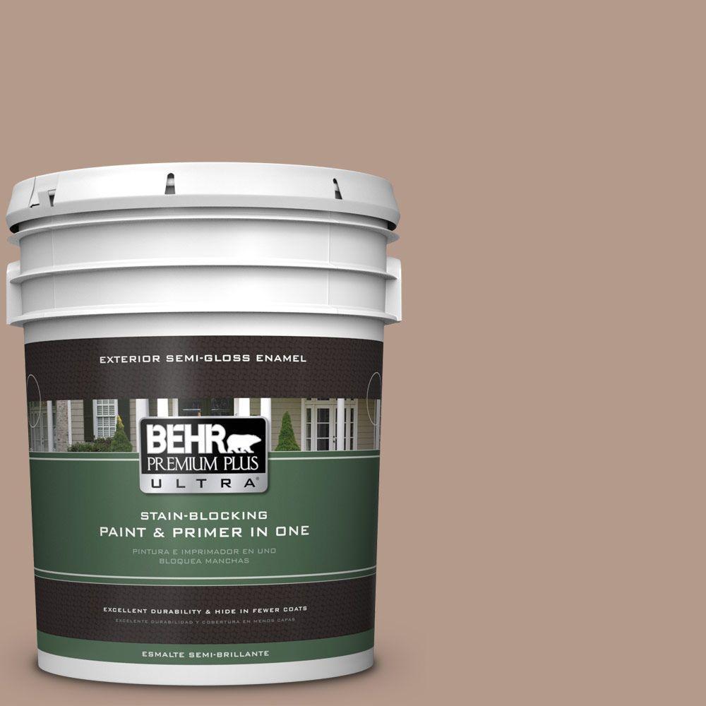 BEHR Premium Plus Ultra 5-gal. #PMD-77 Rich Taupe Semi-Gloss Enamel Exterior Paint