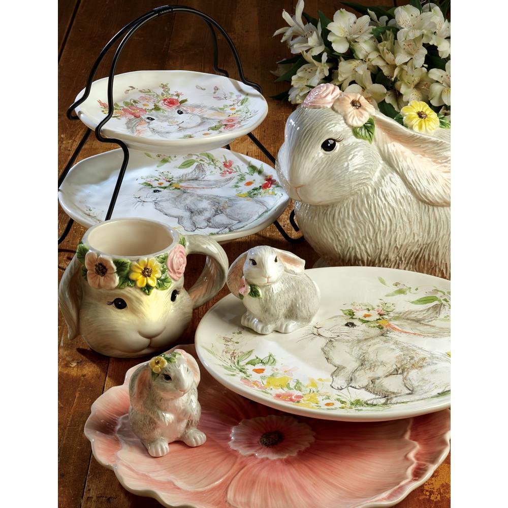 11.75 in. Sweet Bunny Multicolored Earthenware 3-D Pink Poppy Platter