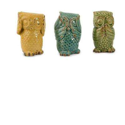 Assorted Wise Owls Decorative Figurines in Multi (Set of 3)