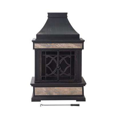 Curtis 56.69 in. Wood Burning Outdoor Fireplace in Black