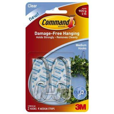 Medium Clear Hooks with Clear Strips (2-Pack)