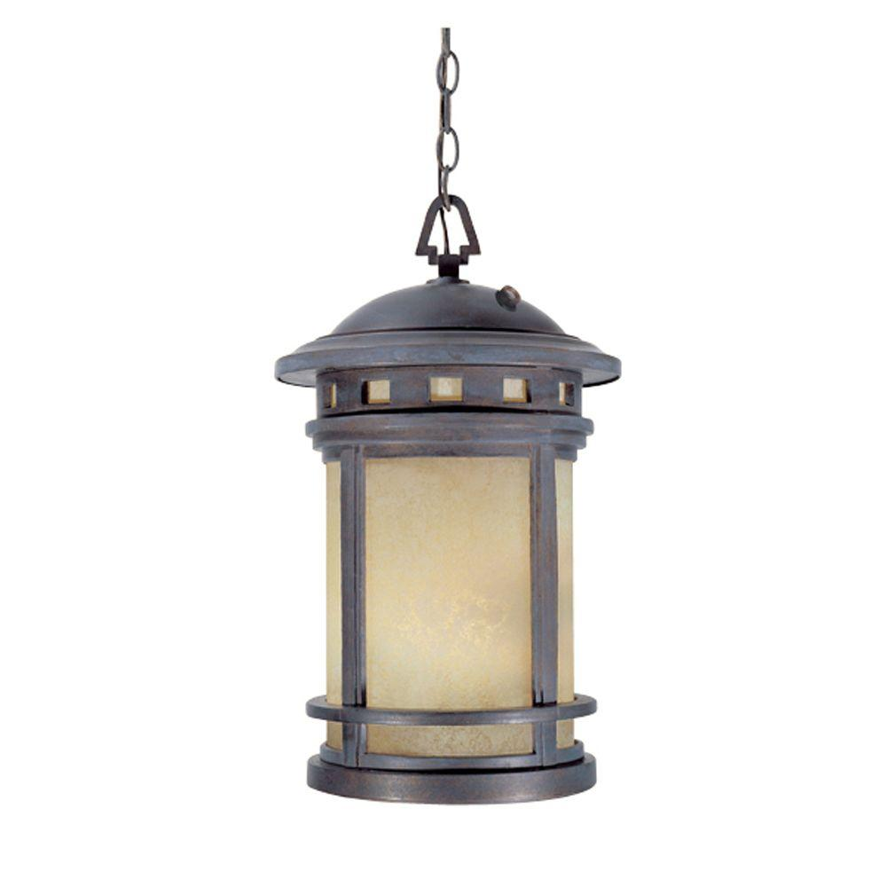 Mesa Collection 3-Light Mediterranean Patina Outdoor Hanging Lantern