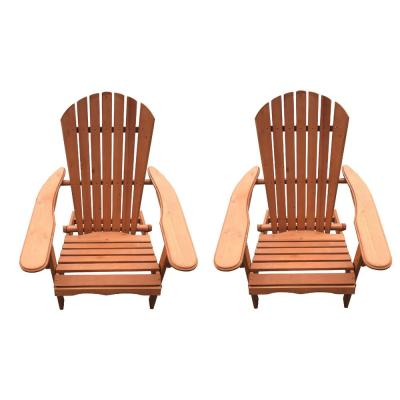 Classic Walnut Folding Wood Oceanic Adirondack Chair (2-Pack)