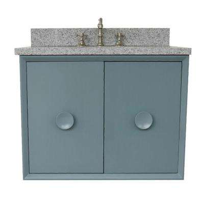Stora 31 in. W x 22 in. D Wall Mount Bath Vanity in Aqua Blue with Granite Vanity Top in Gray with White Oval Basin
