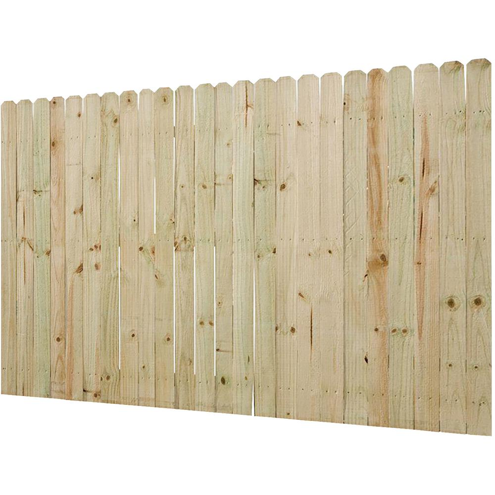 6 Ft X 8 Ft Pressure Treated Pine Dog Ear Stockade Fence Panel 0300250 The Home Depot
