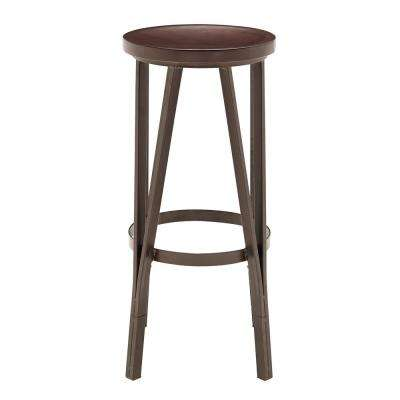 18 In. Adjustable Brown Wood Metal Barstool