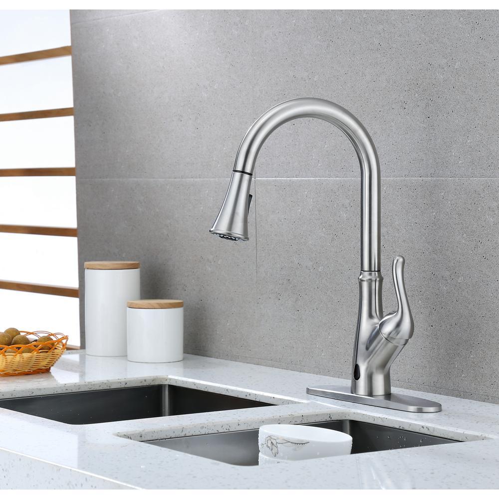 Brisbane Single-Handle Pull Down Sprayer Sensor Kitchen Faucet  Brushed Nickel