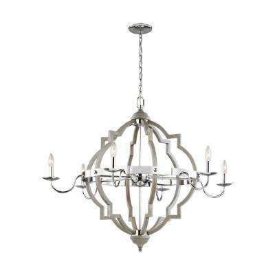 Socorro 40 in. W 6-Light Washed Pine Chandelier with LED Bulbs