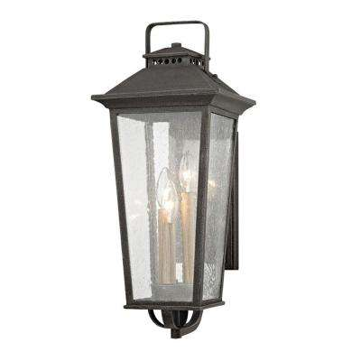 Parsons Field 3-Light Aged Pewter with Seeded Glass Outdoor Wall Mount Sconce