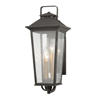 Parsons Field 3-Light Aged Pewter with Seeded Glass Outdoor Wall Lantern Sconce