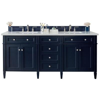 72 in. W x 34 in. H Double Bath Vanity Cabinet in Victory Blue with Quartz Vanity Top in Pearl Jasmine with White Basin