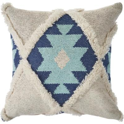 20 in. x 20 in. Off White/Blue Tufted Winter Paradise Southwest Standard Throw Pillow