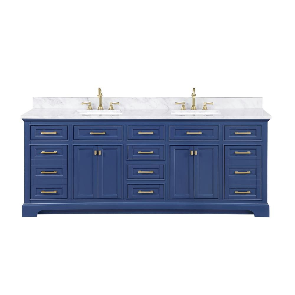 Design Element Milano 84 in. W x 22 in. D Bath Vanity in Blue with Carrara Marble Vanity Top in White with White Basin