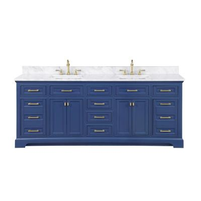 Milano 84 in. W x 22 in. D Bath Vanity in Blue with Carrara Marble Vanity Top in White with White Basin