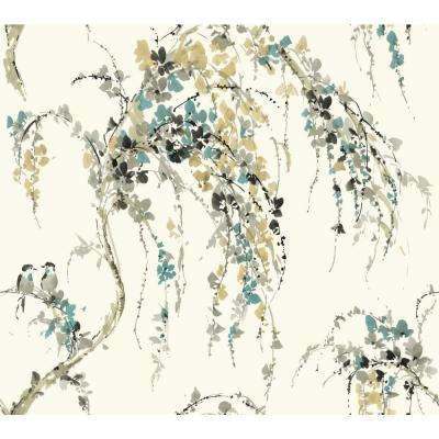 York Wallcoverings Watercolors Lovebirds Strippable Wallpaper Covers 60 75 Sq Ft Wt4557 The Home Depot