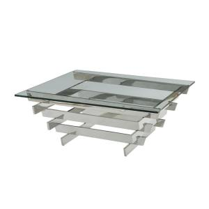 Salonius Stainless Steel And Clear Gl Coffee Table
