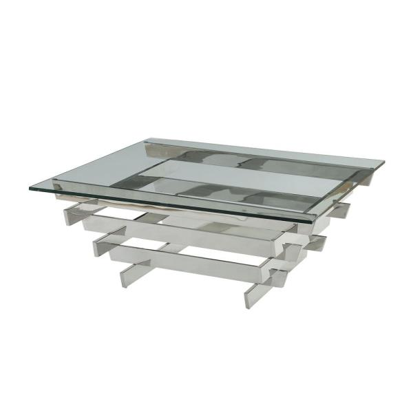 Acme Furniture Salonius Stainless Steel and Clear Glass Coffee Table