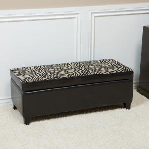 Astonishing Espresso Brown Bonded Leather Storage Ottoman With Zebra Patterned Fabric Top Cjindustries Chair Design For Home Cjindustriesco