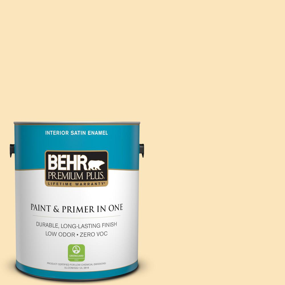 BEHR Premium Plus 1-gal. #350C-2 Banana Cream Zero VOC Satin Enamel Interior Paint