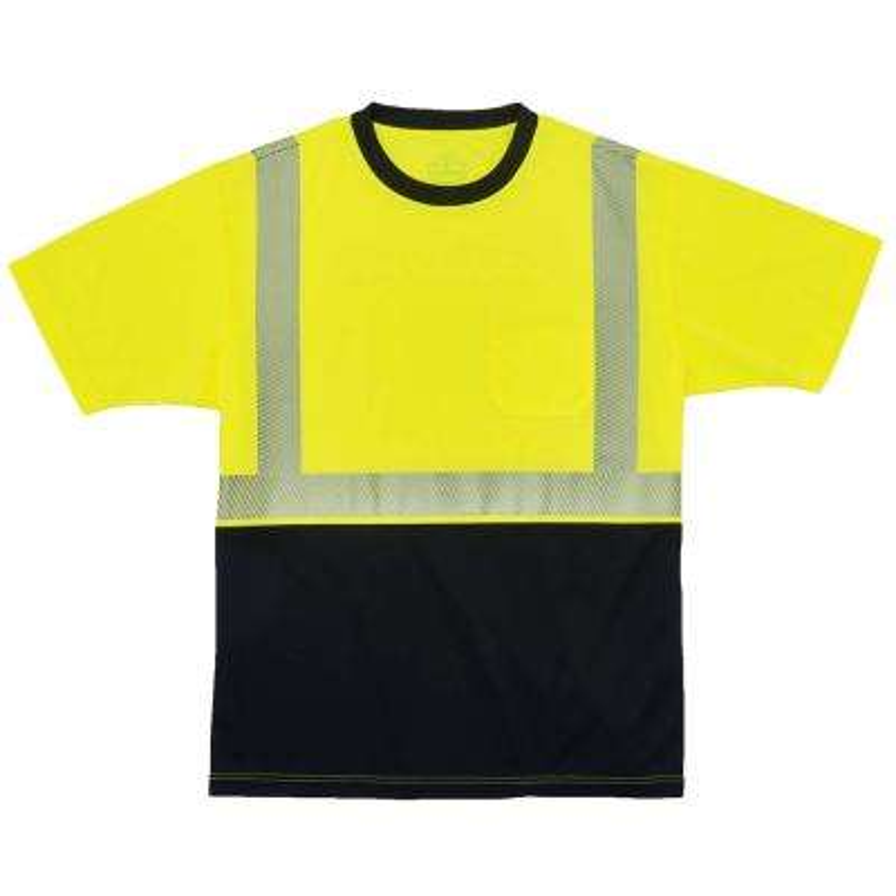 GloWear X-Large Hi Vis Lime Black Front Performance T-Shirt