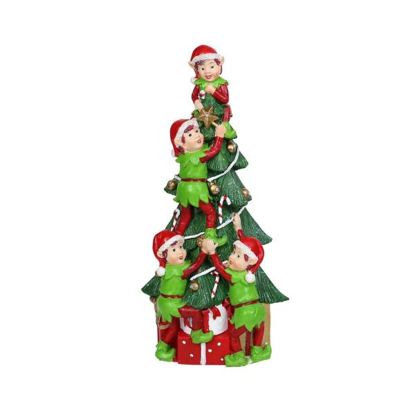 12 in. Tall Alpine Christmas Tree and Elf Stack Statue with Try Me Function