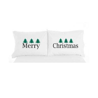 Merry Christmas Novelty Print Pillowcase Pair