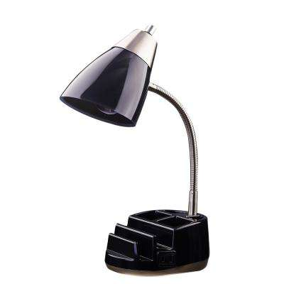 19.5 in. Black Organizer Desk Lamp with Power Outlets