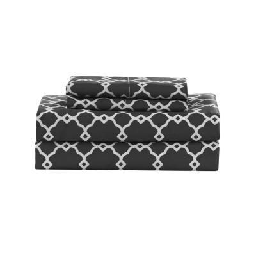 Calvin Geo Micro Grey Queen Sheet Set