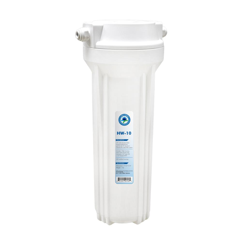 10 In. White Industry Standard Filter Housing With 1/4 In. John Guest Quick Connect Fittings