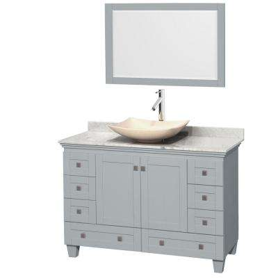 Acclaim 48 in. W x 22 in. D Vanity in Oyster Gray with Marble Vanity Top in Carrera White with Ivory Basin and Mirror