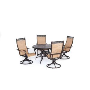 Hanover Manor 5-Piece Round Patio Dining Set with Four Swivel Rockers by Hanover