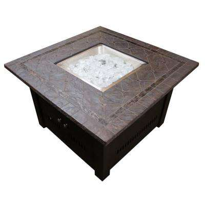 40 in. Square Shaped Steel Fire Pit in Bronze