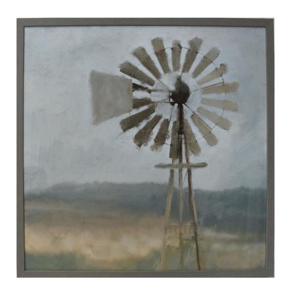 Home Decorators Collection Square Framed Vintage Windmill Wall Art 32 in. H x 32 in. W