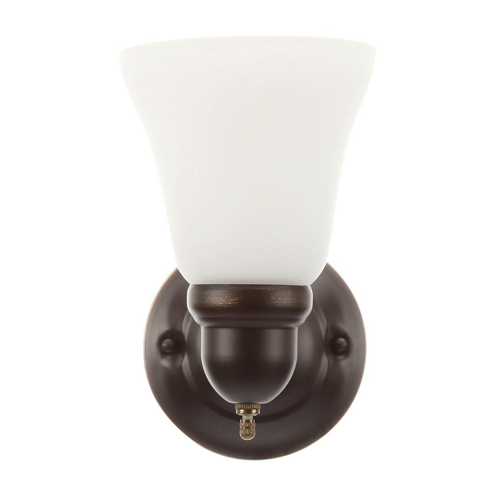 hampton bay 1-light oil rubbed bronze sconce with frosted opal