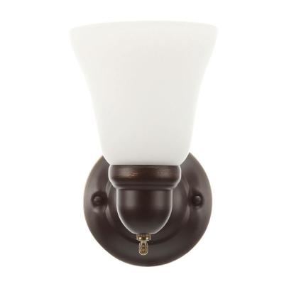 1-Light Oil Rubbed Bronze Sconce with Frosted Opal Glass Shade