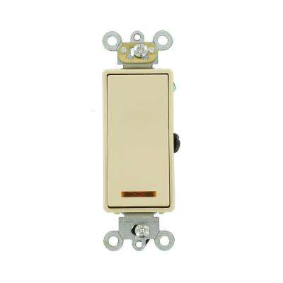 20 Amp Decora Plus Commercial Grade 3-Way Lighted Rocker Switch with Pilot Light, Ivory
