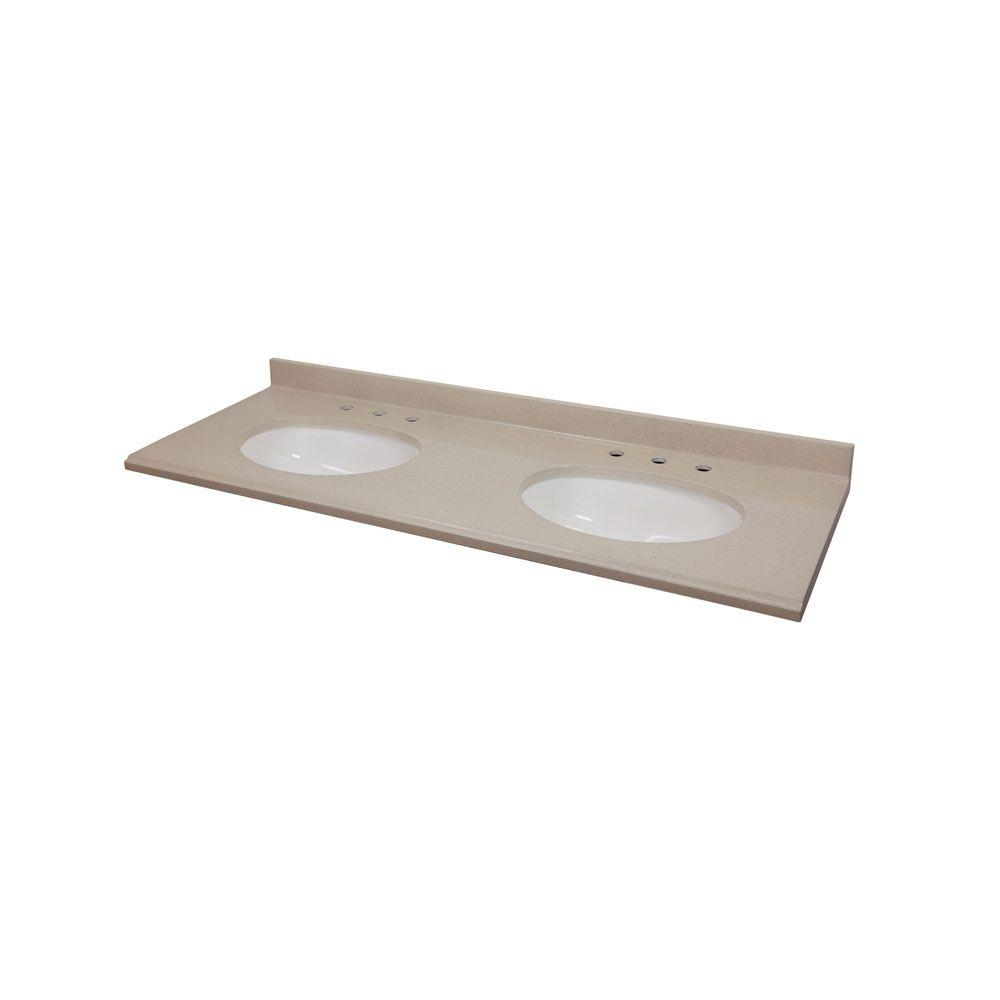 St. Paul 61 In. Colorpoint Technology Vanity Top In Beach With White Double  Under