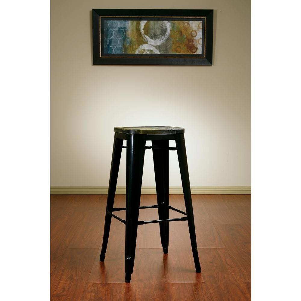 Black bar stool set of 4 brw31303a4 c301 the home depot