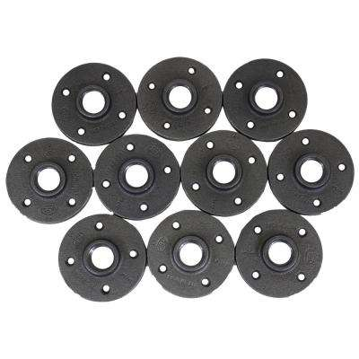 1 in. Black Malleable Iron FPT Floor Flange (10-Pack)