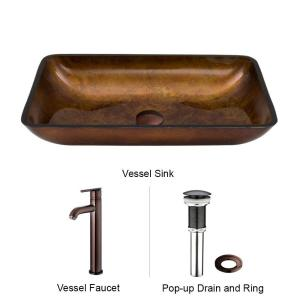 VIGO Rectangular Glass Vessel Sink in Russet Glass with Faucet Set in Oil Rubbed Bronze by VIGO