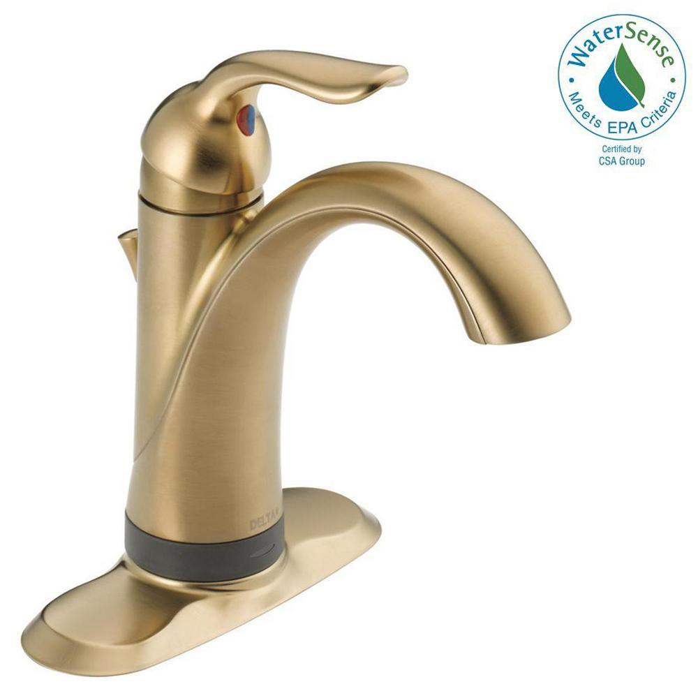 Delta Lahara Single Hole Single-Handle Bathroom Faucet with Touch2O.xt Technology in Champagne Bronze