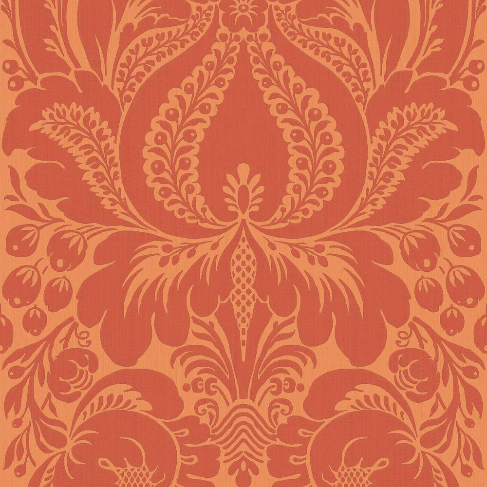 The Wallpaper Company 56 sq. ft. Orange Large Scale Damask Wallpaper