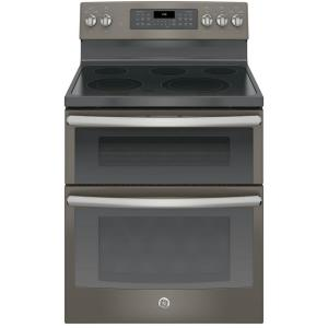 Click here to buy GE 6.6 cu. ft. Double Oven Electric Range with Self-Cleaning Convection Oven (Lower Oven Only) in Slate by GE.