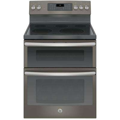 6.6 cu. ft. Double Oven Electric Range with Self-Cleaning Convection Lower Oven in Slate, Fingerprint Resistant